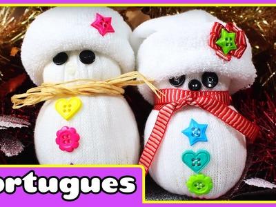 How to Make A Sock snowman - Como Fazer um Bonecos de Neve de meias - Especial de Natal