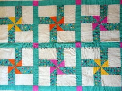 Manta.colcha infantil em patchwork Os Cataventos - Maria Adna Ateliê - Cursos.aulas de patchwork