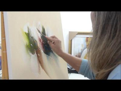 Pintura ao vivo: abstrato espatulado por Bina Rikari