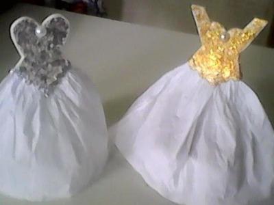 Lembrancinha para casamento porta bombom vestido de noiva