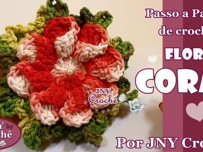 PAP de crochê Flor Coral por JNY Crochê