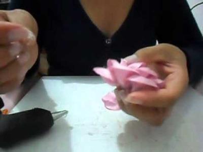 Rosa Boleada  que não desfia, feita com Kit 31