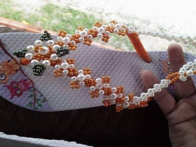 Sandalia Customizada em florzinhas de Perolas, Muito fácil de fazer! Por Maguida Silva