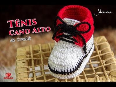Tênis de Crochê Infantil Cano Alto | Professora Simone | Parte 1