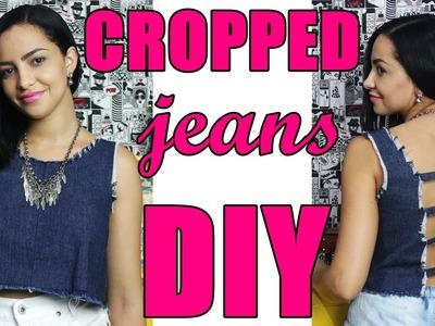 Cropped jeans desfiado com tiras nas costas feito com pernas de calça - Suellen Redesign