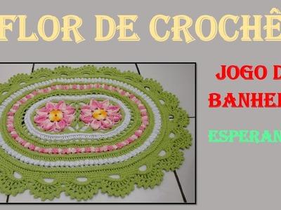 Flor de Crochê Jogo de Banheiro Esperanza por Wilma Crochê