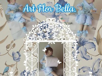 Como fazer boneca porta papel higiênico sentada, com os moldes modificados  ( Parte - 04)