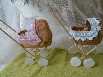 Como fazer carrinho de bebe para barbie ou lembrancinhas de maternidade