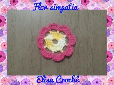 Flor simpatia em crochê # Elisa Crochê