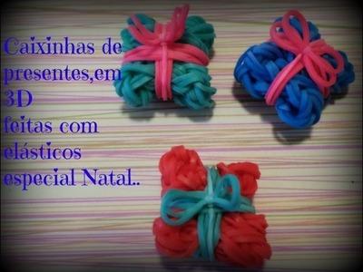 Caixinhas de presentes 3D feitas de elásticos.especial natal.
