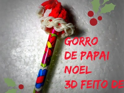 Gorro de papai noel 3D feito de elásticos