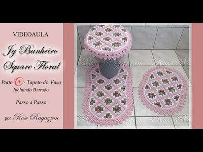Jg Banheiro Square Floral - Parte 4 - Tapete do Vaso
