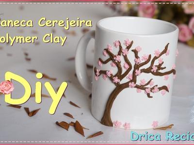 DIY -  Caneca Cerejeira-Sakura - Polymer Clay Mug - Drica Recicla