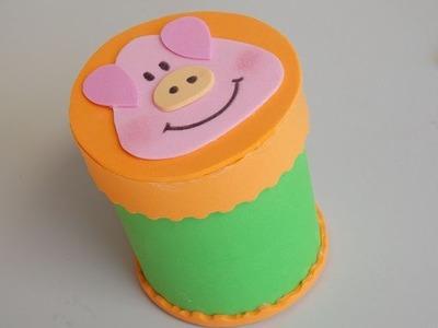 DIY - Potinho de E.V.A. com tampa, tema fazendinha com porquinho