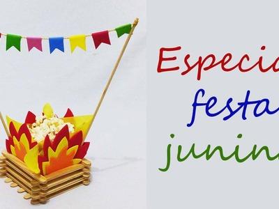 DIY fogueira com palito de sorvete para festa junina