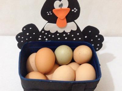 Pote de Sorvete Porta Ovos de Galinha Decorado - DIY Artesanato Reciclagem