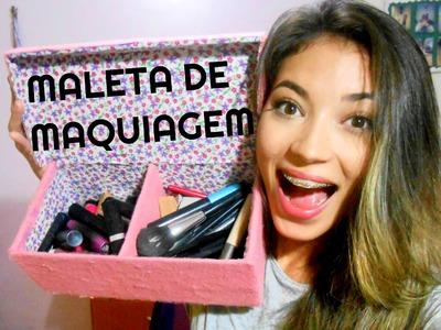 DIY: MALETA DE MAQUIAGEM LINDA E FÁCIL (com caixa de sapato)!