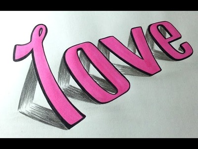 Desenhando LOVE 3D Simples passo a passo - How to Draw a 3D Love