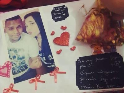 Caderno de recordações scrapbook para namorado ❤