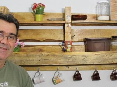 Como fazer Estante de pallets para o cantinho do café - DIY