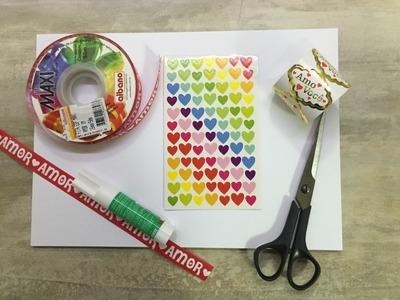 DIY - Papéis Decorados com Fita e Adesivos para Aniversário de Namoro - Scrapbook - Faça Você Mesmo