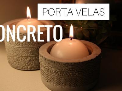 DIY- PORTA VELAS CONCRETO.CIMENTO por Nanny Ribeiro