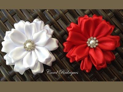 Flor de Fita de Cetim Fácil - Passo a Passo - Easy Ribbon Flower
