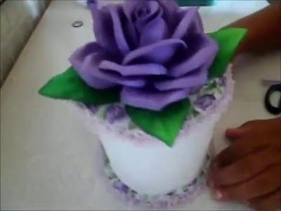 PORTA PAPEL HIGIÊNICO COM ROSA DE EVA