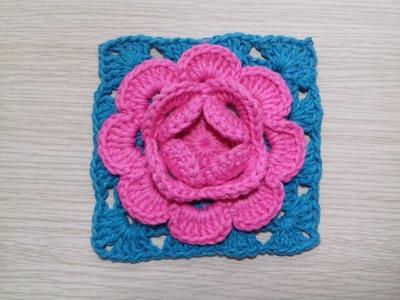 Flor de Crochê Rosa # Square