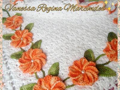 Flor Lina em croche.Flor para aplicação Por Vanessa Marcondes