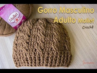 Gorro Masculino de Crochê Mollet Adulto - Parte 2 - Prof. Simone