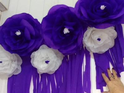 Aula 65 - Como fazer fazer um lindo painel com flores gigantes de papel crepom