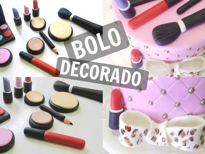 DIY Bolo Decorado Maquiagem   por Tamara Reis