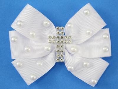 Passo a passo: Laço de fita para Batizado e Primeira Comunhão.DIY ribbon bow