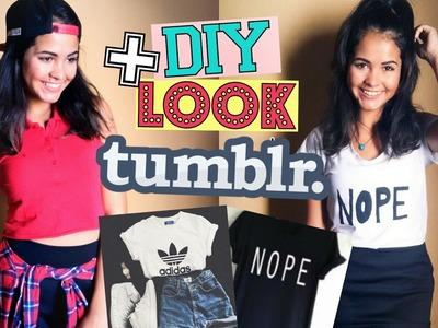 DIY: CROPED E T-SHIRT + LOOK  INSPIRADO NO TUMBLR