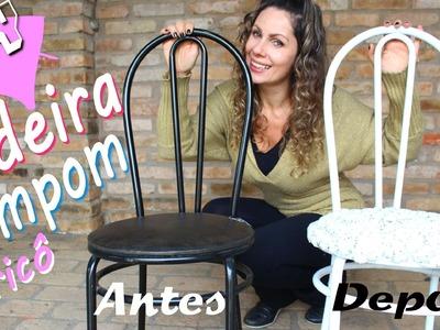 Reforma de cadeira - Cadeira Pompom - Pintura e Tricô Passo-a-passo | por Iara Steffens