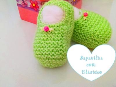 Tricô: Sapatinho sapatilha para bebê com elástico