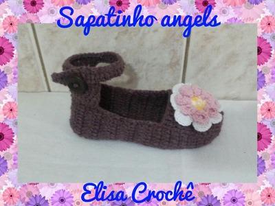 Sapatinho angels em crochê 33.34 # Elisa Crochê
