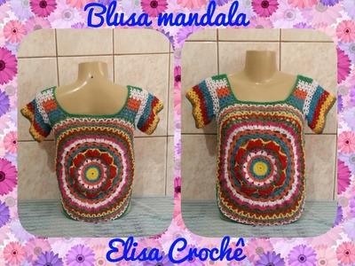 Blusa mandala com sobras de linhas de crochê ( 4ª parte ) # Elisa Crochê