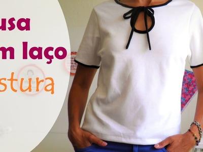 Blusa com laço no decote  (gola laço) - parte 2: COSTURA (DIY Tutorial) - VEDA#18