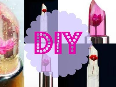 DIY Faça você mesmo. . batom com flor dentro .Jelly flower  batom com flor dentro