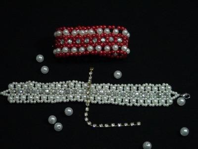 DIY - bracelete com  pérolas e strass