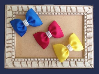 Laço Simples com Acabamento de Pérolas - DIY Hair Bow With Beads