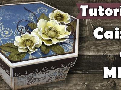 DIY Caixa scrap decor com flores de papel   Tutorial   PAP