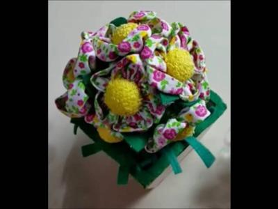 DIY vaso com flores de fuxico