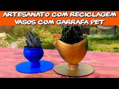 Artesanato com Reciclagem   Vasos com Garrafa Pet
