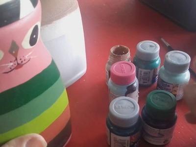 Como reciclar o vidro  com formato de gatinho,artesanato