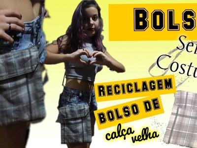 DIY :: BOLSA RECICLADA de calça velha SEM COSTURA
