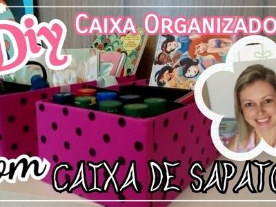 DIY - CAIXA ORGANIZADORA com caixa de SAPATO