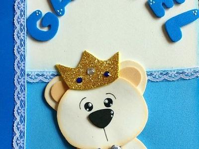 DIY - Capa caderneta de vacinação - Urso Príncipe em EVA - Art's da Indy